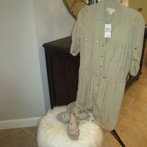 Michael Kors Khaki button down shirtdress
